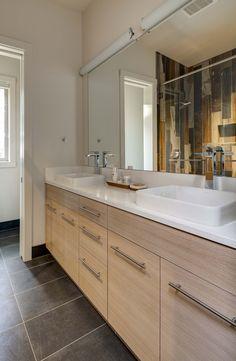 Master bath in Stillwater Dwellings prefab home located near Portland, Oregon.