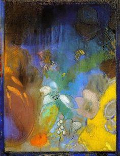 Odilon Redon - femme dans `profile` avec des fleurs
