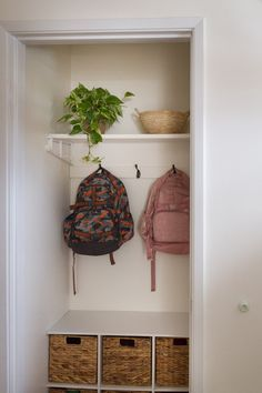 Hall Closet Made Into A Mini Mudroom Zevy Joy I am sharing some refreshing and organizing ideas as I continue to share our way through our home th… – Mudroom Entryway Decor, Hall Closet, Master Bedroom Makeover, Entry Closet, Dining Room Decor, Closet Organization, Room, Family Room Makeover, Mudroom