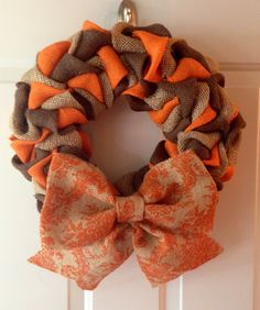 Wonderful Fall Burlap Wreath with Printed Orange Burlap Bow