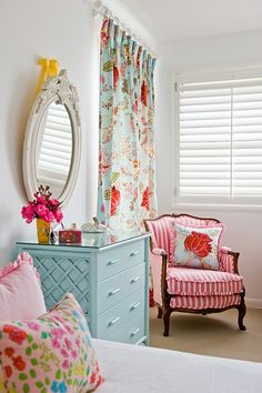 Color Combo for Little Girl's Room. Love the side detail on dresser & ruffle on seat of chair.