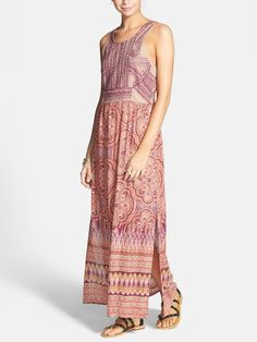 Oh, so lovely. Crushing on this pink embroidered print maxi dress.