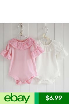 9f880741a1c7 Lace Collar Baby Girls Short Sleeve Bodysuit Romper Jumpsuit One-pieces  Outfits