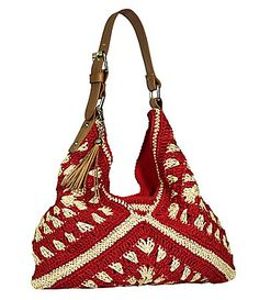 This would be super easy to make - just 3 big granny squares.  Franco Sarto Havana Hobo Bag #Dillards