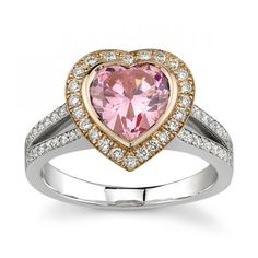 Bezel Set Pave Halo Engagement Ring Setting with Pink Sapphire Center Stone by Sareen Jewelry  emmaparkerdiamonds.com
