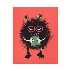 Geek Evil Bug Character Loves Reading Canvas Print - decor gifts diy home & living cyo giftidea