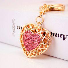 Berongga Out Love Heart Gantungan kunci Cincin Pemegang Untuk Pecinta Sayang Tas Liontin Untuk Mobil Berlian Imitasi Gantungan Kunci Keyrings K290