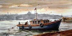Watercolour, Watercolor Paintings, Boat Art, Village Houses, Global Art, Art Studies, Vintage Cards, Landscape Paintings, Istanbul