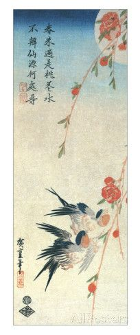 Swallows and Peach Blossoms under a Full Moon Giclee Print by Ando Hiroshige - AllPosters.co.uk