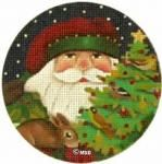 Melissa Shirley Designs | Hand Painted Needlepoint | Green Santa