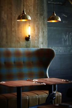 SOME QUIRKY FIXED SEATING AND MIXED PENDANT/WALL LIGHTING