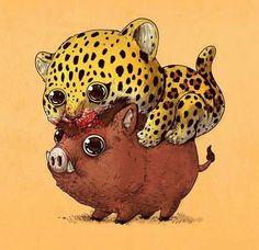 leopardo y jabalí