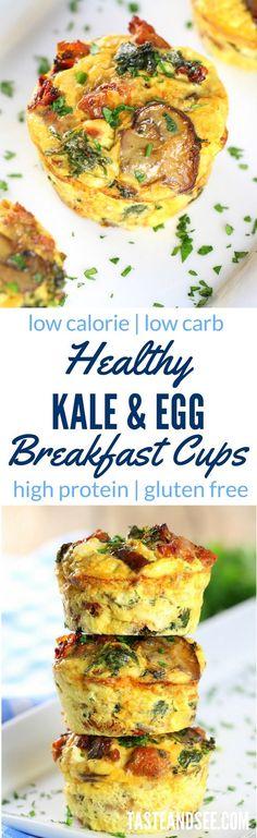Healthy Kale Egg Breakfast Cups Recipe – with kale, sun-dried tomatoes, spicy chicken sausage, mushrooms, & feta.  http://tasteandsee.com via @h_tasteandsee