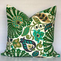 Emerald Green Floral Vine - Decorative Linen Pillow Cover - Emerald Green Jade Olive Black Khaki Tan Beige Natural - CHOOSE YOUR SIZE