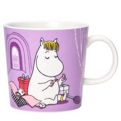 """The new 2020 edition Snorkmaiden Lilac Moomin mug by Arabia. The illustration of Snorkmaiden comes from a drawing in the 1955 comic book """"Moomin on Moomin Books, Moomin Mugs, Troll, Moomin Shop, Moomin Valley, Tove Jansson, Lilac, Purple, Marimekko"""