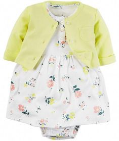 Carter's Baby Girls' 2 Piece Geo Print Dress Set (Baby) -- Special product just for you. Cardigan Bebe, Dress With Cardigan, Yellow Cardigan, Carters Dresses, Baby Girl Dresses, Outfits Niños, Kids Outfits, Baby Girl Fashion, Fashion Kids