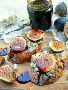 Con sabor a canela: Tosta de higos con queso azul y miel de caña Cooking Recipes, Healthy Recipes, Yummy Recipes, Tapas Bar, Canapes, Antipasto, Tostadas, Chorizo, Delish