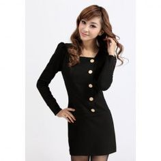 $10.32 Slim Fit Square Neck Ladylike Single-Breasted Puff Sleeve Dress For Women