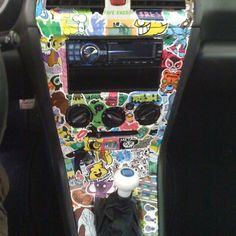 Sticker bomb car interior