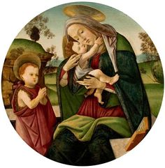 ❤ - SANDRO BOTTICELLI ( 1445 - 1510) - Madonna and Child and the Young St John the Baptist.