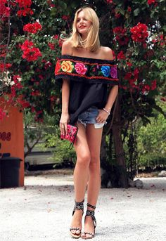 "Mexican ""flea-market"" top, Isabel Marant sandals and cut off shorts. Perfected weekend summer style."