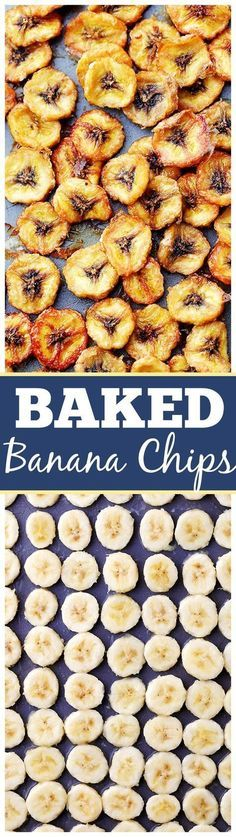 Homemade Baked Banana Chips Recipe Homemade Baked Banana Chips - Deliciously sweet and guilt-free baked banana chips are so easy to make and are the perfect portable, healthy snack to have on hand. Banana Recipes, Snack Recipes, Cooking Recipes, Healthy Recipes, Easy Recipes, Diet Recipes, Baking Snacks, Vegetarian Recipes, Locarb Recipes