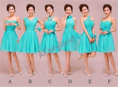 Chiffon bridesmaid dress party dress in knee-length/strapless/sweetheart neckline/v-neck/tiffany blue on Etsy, $78.00
