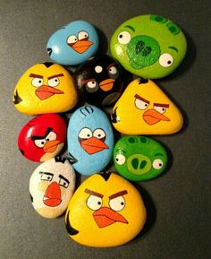 Angry birds hand painted rocks.