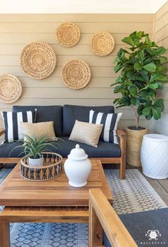 Make Your Outdoor Living Space Cozy on a Budget with this gorgeous wooden outdoor furniture set! Outdoor Walls, Outdoor Living, Outdoor Furniture Sets, Outdoor Decor, Outdoor Patio Decorating, Outdoor Wall Decorations, Patio Decorating Ideas On A Budget, Outdoor Areas, Rustic Furniture