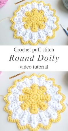 Crochet I Cord, Puff Stitch Crochet, Crochet Home, Crochet Crafts, Crochet Doilies, Crochet Projects, Crochet Rugs, Crochet Tutorials, Crochet Ideas