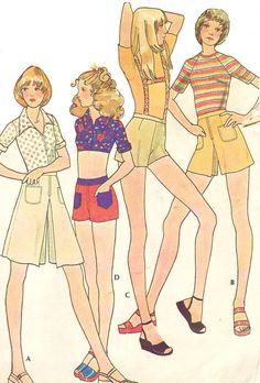 70er Jahre Womens Shorts Straps Shorts Pantskirt von CloesCloset