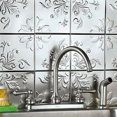 """SELF ADHESIVE DECORATIVE SILVER EMBOSSED FLORAL TIN TILES - 6"""" x 6"""" (SET OF 16) by M.I., http://www.amazon.com/dp/B0039P5W2E/ref=cm_sw_r_pi_dp_Uc4Lrb07V987C"""