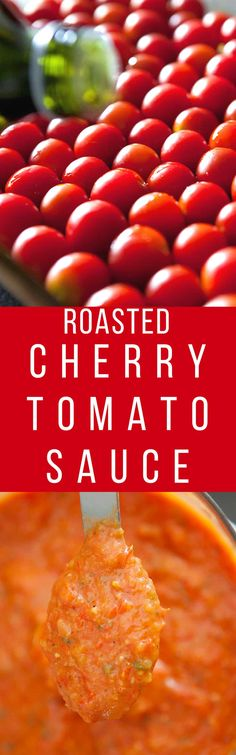 ROASTED CREAMY Cherry Tomato Sauce is sweet, creamy and SO EASY to make! This is the best recipe for growing garden tomatoes! You can serve immediately on pasta, can it or freeze it! Find out why thousands of people love this sauce! Cherry Tomato Sauce, Roasted Cherry Tomatoes, Tomato Sauce Recipe, Sauce Recipes, Pasta Recipes, Cooking Recipes, Tomatoe Sauce, Stewed Tomatoes, What's Cooking