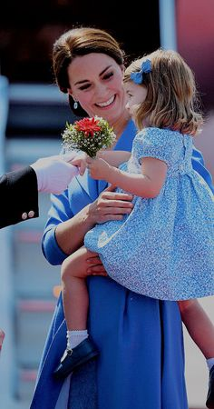 "thecambridgees:  """"Princess Charlotte received her own posy of flowers as they arrived in Berlin to start the Germany Tour, on Julu 19,2017.  "" """