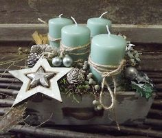 ♥Adventskranz♥in Schublade ,Adventsgesteck,mint-Natur,Vintage,Adventsdeko,Gestec