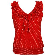 Red & White Polka Dot Ruffled Neckline Sleeveless Top: Clothing ($20) ❤ liked on Polyvore featuring tops, shirts, red shirt, red tank, white tank, sleeveless shirts and white polka dot shirt