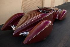 (pic 1937 Designed by Chip Foose Studebaker (Custom) Boattail Convertible Speedster via art deco Deco Cars, Art Deco Car, Bmw Autos, Vw Vintage, Sweet Cars, Rat Rods, Amazing Cars, Awesome, Auburn