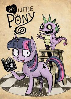 my little pony, gothic art, twilight sparkle, spike Twilight Sparkle, Tim Burton Drawings, Mlp Creepypasta, My Little Pony Drawing, Gothic Art, Pretty Art, Pencil Drawings, Ladybug, Horror