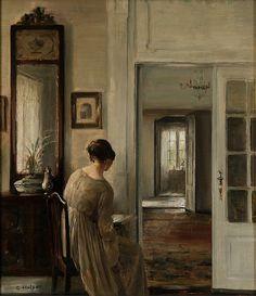 art-mirrors-art: ca 1892 Carl Holsøe (Danish; 1863-1935) ~ Reading (the painter's wife)