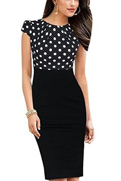 50257033562 YACUN Women s Cap Sleeve Polka Dor Patchwork Cocktail Dress BlackDot 12.  Women office wear. Women office outfits. It s an Amazon affiliate link.