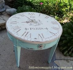 Love this idea for a round table.  It was done using reverse decoupage, stencils, rubber stamps and a little hand-painting.  Well worth the time spent!