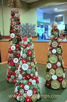 Button Christmas Trees featuring retired Stampin Up! buttons and styrofoam cones by Patty Bennett, Joy and Roxy Button Christmas Trees featuring retired Stampin Up! buttons and styrofoam cones by Patty Bennett, Joy and Roxy Christmas Button Crafts, Christmas Buttons, Christmas Projects, Crafts To Do, Holiday Crafts, Christmas Holidays, Christmas Decorations, Christmas Ornaments, Christmas 2019