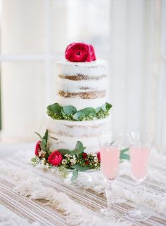 The crumb coating of this cake gives it a perfect natural finish for a bohemian style affair!