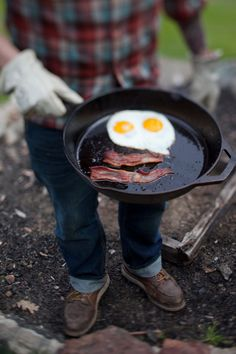 There's nothing like cooking breakfast on cast iron over an open fire.