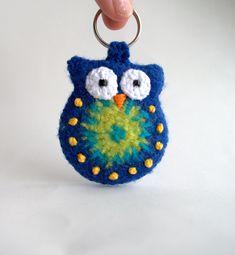 Crochet owl keychain felted, owl keychain, blue felted crochet owl, free shipping. $17.00, via Etsy.