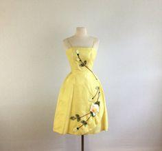 Vintage 50s Audrey  cocktail dress  1950s yellow rosette silk