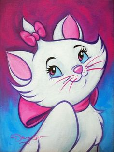 "Disney Fine Art: ""Lovely Marie"" by Tim Rogerson:) Nickelodeon Cartoons, Disney Cartoons, Cartoon Painting, Painting & Drawing, Arte Ganesha, Acrylic Painting Canvas, Canvas Art, Gata Marie, Disney Fine Art"