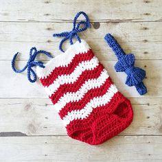 611ea30ead9 Crochet Baby 4th of July Chevron Romper Bow Headband Set Striped Zigzag Red  White Blue American