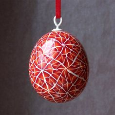 Egg Ornament  Orange Red and White Polymer Clay by madeinlowell, $32.00
