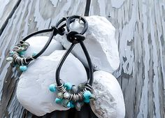 Leather hoop earrings  Minimalist Earrings  Gypsy by KingsfieldInn